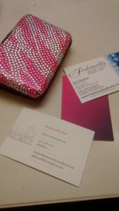 "Did you catch my new pink'n' purple personal cards, FA ""Fashion Editor"" cards and awesomely blingy card holder..??"