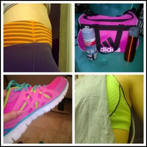 Day5: finally got to the gym, with my pink&neon new activewear